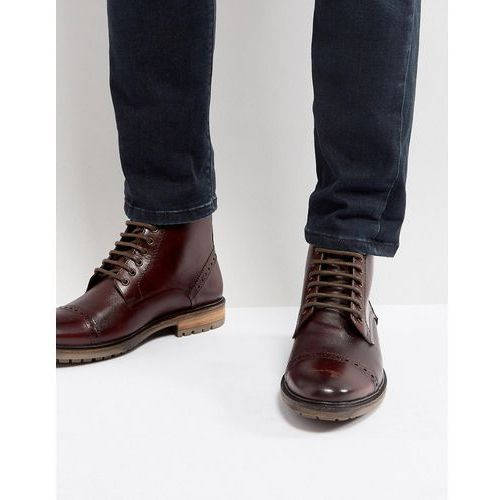 Silver Street Milled Boots In Burgundy Leather - Red
