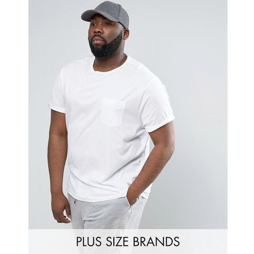 River island  plus crew neck t-shirt with roll sleeves in white - white