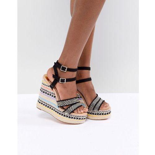 River island stripe wedge heeled sandals - black