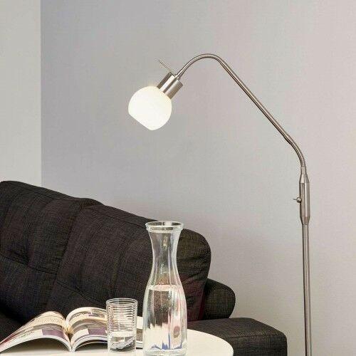 Smukła lampa stojąca LED ELAINA, matowy nikiel