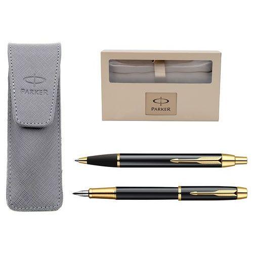 Parker Zestaw  im czarny gt pióro długopis * pudełko prezentowe * etui z naturalnej skóry szary grawer