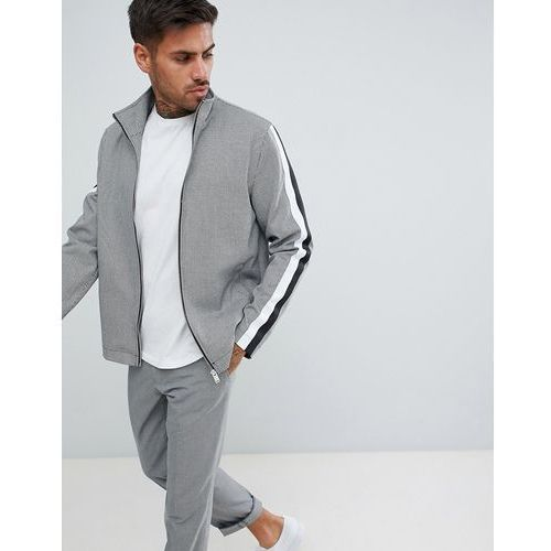 harrington jacket with taping in black houndstooth - black, River island