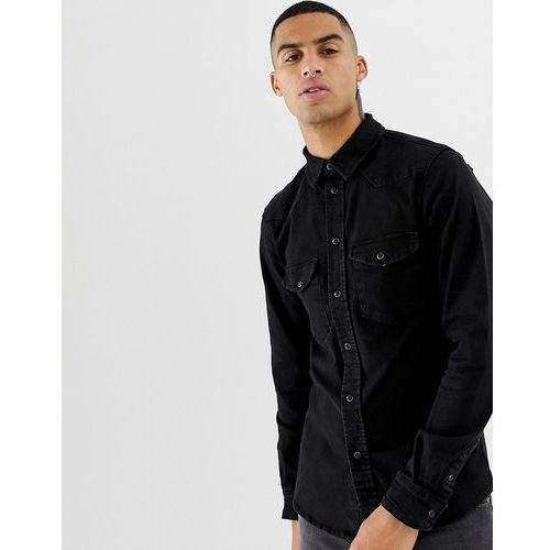 Bershka western shirt in black with popper buttons - Black