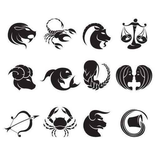 Komplet 12 naklejek dekoracyjnych - znaki zodiaku - 50 kolorów do wyboru. wielkość m marki Szabloneria