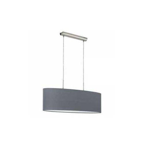 Lampa wisząca Eglo Pasteri 31582 z abażurem 2x60W E27 szara