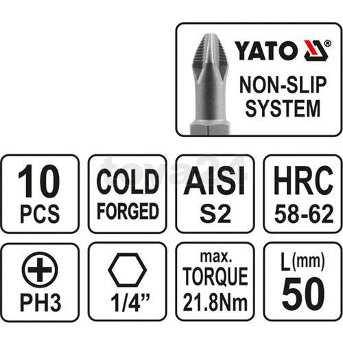 Końcówki wkrętakowe ph3x50 mm, kpl. 10 szt. Yato YT-0479 - ZYSKAJ RABAT 30 ZŁ, YT-0479