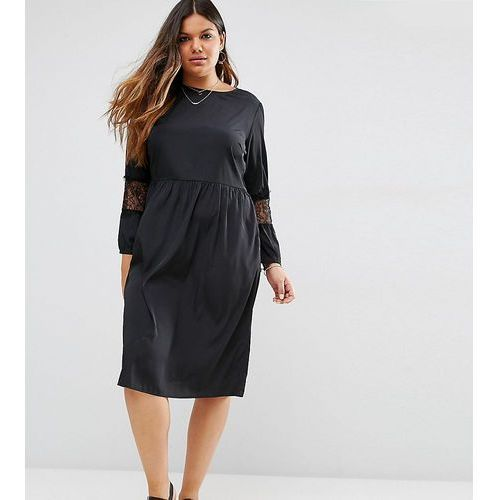 long sleeve midi dress with lace inserts - black, Asos curve