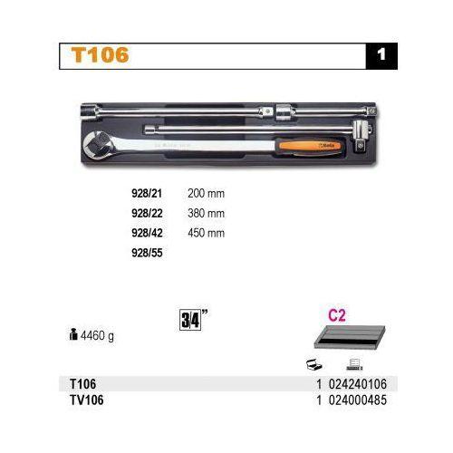 Beta Wkład profilowany twardy do zestawu narzędzi 2424/t106, pusty, model 2400/tv106