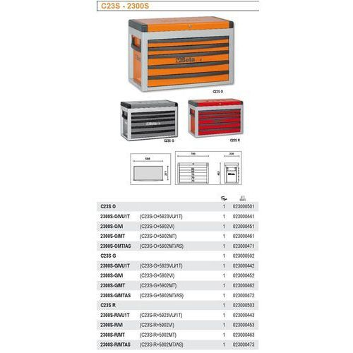 Beta Skrzynia narzędziowa 2300/c23s z zestawem 86 narzędzi, model 2300so/vu1t, pomarańczowa