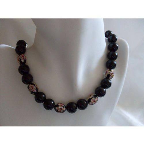 N-00033 Naszyjnik z perełek szklanych, czarnych i koralików cloisonne, kolor czerwony