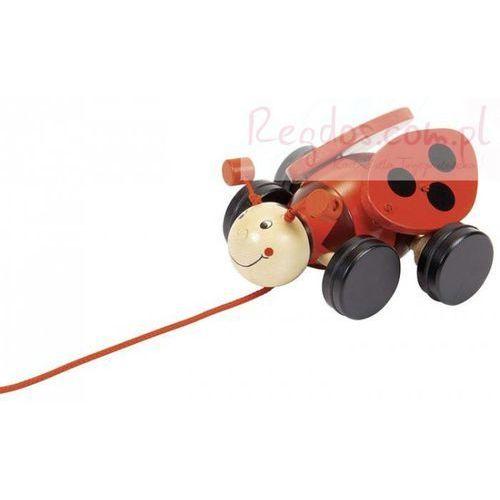 Drewniana zabawka do ciągnięcia na sznurku, biedronka lil, marki Goki