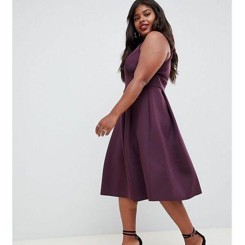 Asos design curve scuba trim neck prom midi skater dress - purple marki Asos curve