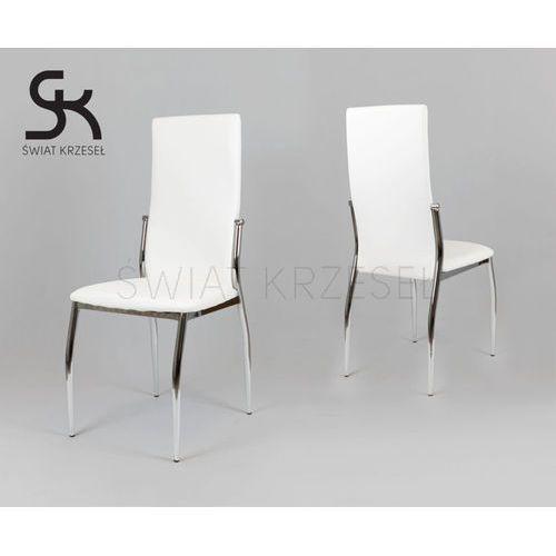 ks004 białe krzesło z ekoskóry na stelażu chromowanym - biały marki Sk design