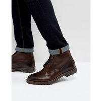 Base london troop leather lace up boots in brown - brown