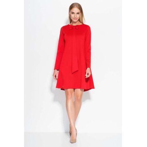 Czerwona Sukienka Trapezowa z Krawatką i Kokardą, DM320re
