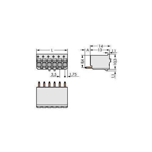Obudowa męska na PCB WAGO 2091-1176/000-1000, Ilośc pinów 6, Raster: 3.50 mm, 100 szt.