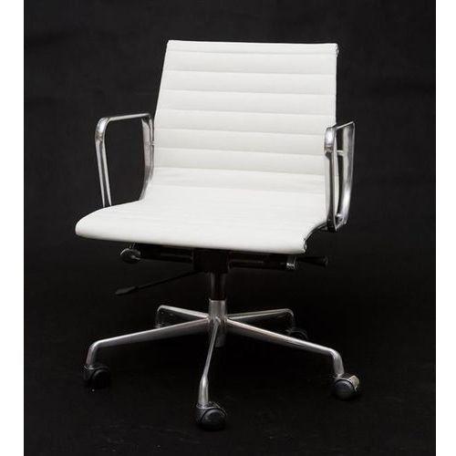 D2.design Fotel biurowy ch inspirowany ea117 skóra,chrom - biały (5902385704816)