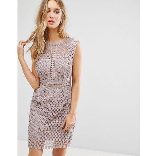 New Look Cutwork Lace Shift Dress - Grey, kolor szary