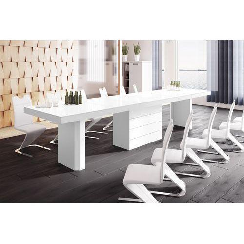 Hubertus design Stół rozkładany kolos 160 biały wysoki połysk