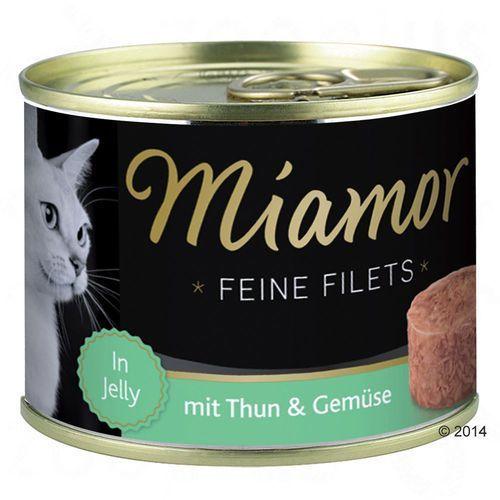 Miamor Feine Filets w galarecie, 6 x 185 g - Tuńczyk i krewetki