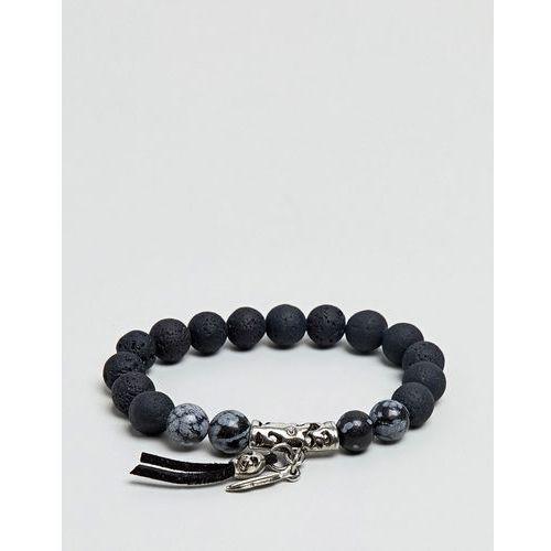 ASOS Beaded Bracelet With Skull And Semi Precious Stones - Black, kolor czarny
