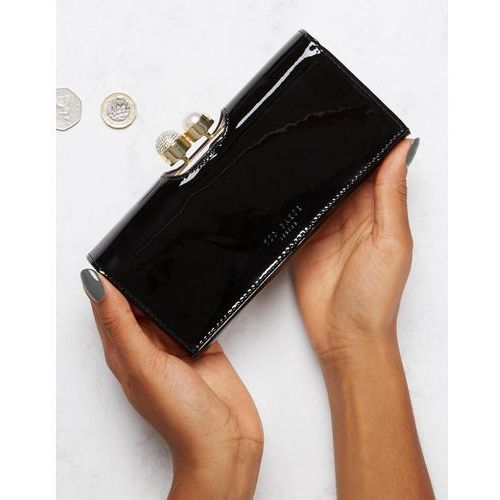 Ted Baker Patent Purse with Pearl Crystal Bobble - Black