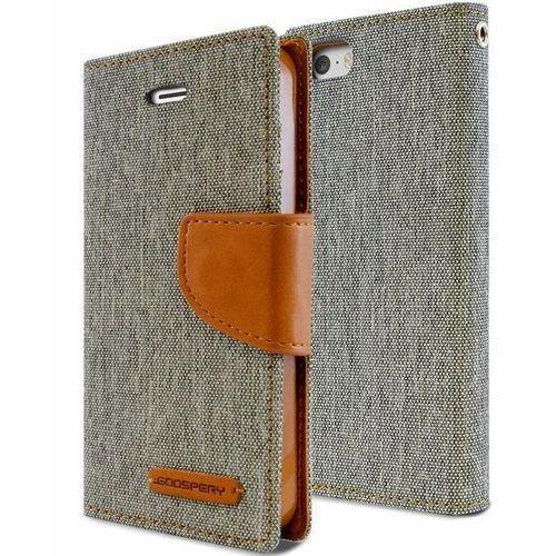 canvas diary - etui iphone se / iphone 5s / iphone 5 z kieszeniami na karty + stand up (szary/camel) - szybka wysyłka - 100% zadowolenia. sprawdź już dziś! marki Mercury