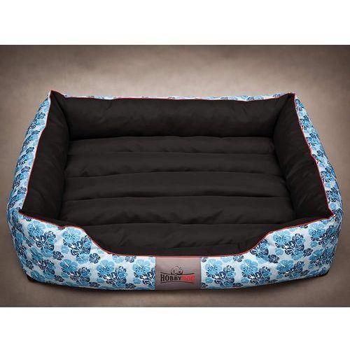Xl legowisko comfort - niebieskie kwiaty z czarnym marki Hobbydog