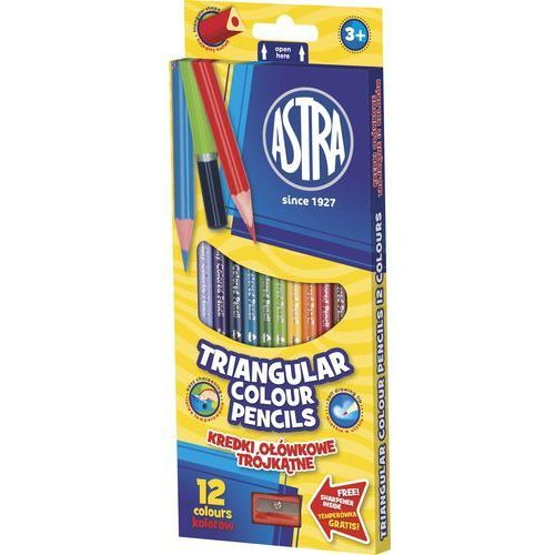 Astra Kredki ołówkowe 12 kolorów trójkątne