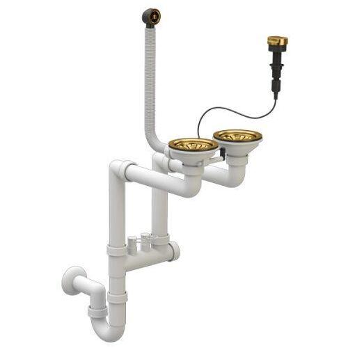 Stellman Syfon zlewozmywakowy złoty przyścienny automatyczny 2 komorowy