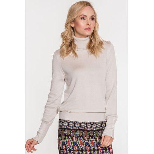 Sweter z golfem w kolorze ecru - Far Far Fashion, kolor beżowy