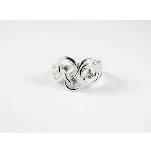 Srebrny pierścionek 925 BIAŁE CYRKONIE r. 12, kolor szary