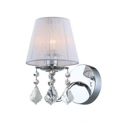 Kinkiet Italux Cornelia MBM-2572/1 W lampa oprawa ścienna kryształki 1x60W E27 chrom/kryształ/biały