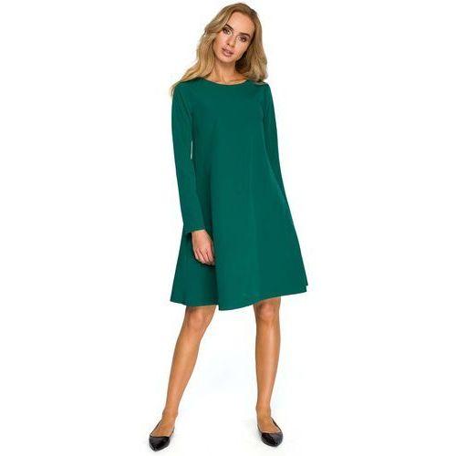 Zielona Wizytowa Trapezowa Sukienka z Szyfonową Wstawką, ES137ge