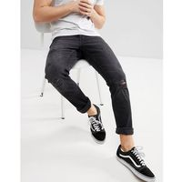 Only & Sons Skinny Jeans With Distressing Details - Black, kolor czarny