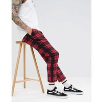 boohooMAN Trousers With Taping In Red Tartan - Red