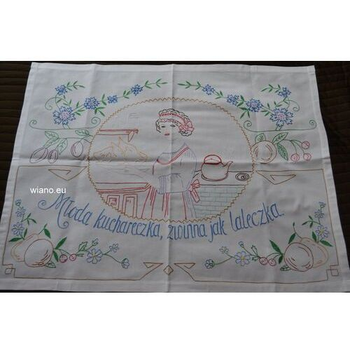 Makatka ludowa haftowana (len) młoda kuchareczka zwinna jak laleczka 72x58 marki Twórczyni ludowa