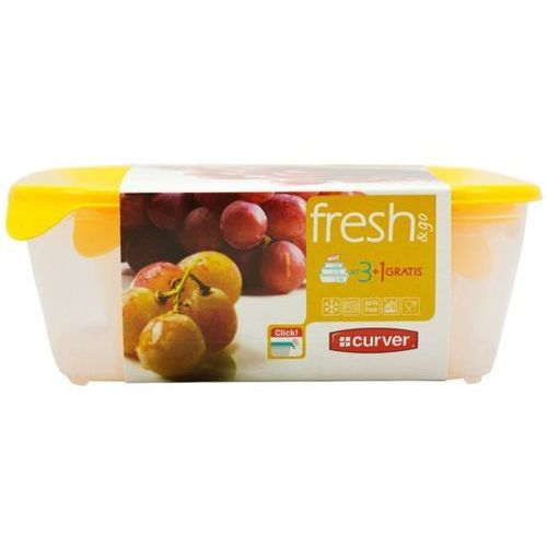 Zestaw pojemników kwadratowych  fresh&go 0,8l+1,7l+2,9l+0,25l - żółty marki Curver