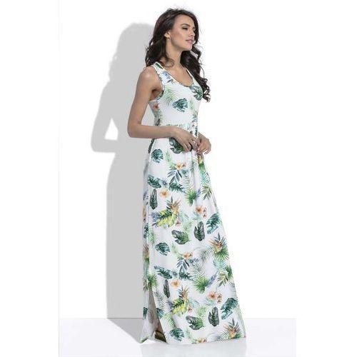Biała długa letnia sukienka w liście i kwiaty marki Fobya