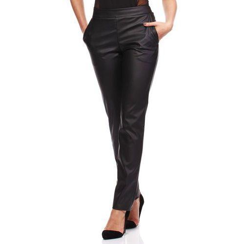 Czarne Eleganckie Spodnie Rurki z Eko-skóry, ekoskóra