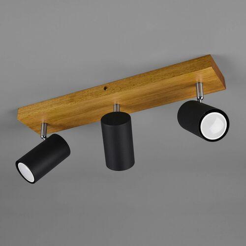 Trio Marley 812400332 plafon lampa sufitowa 3x35W GU10 czarny mat/drewno, kolor Czarny