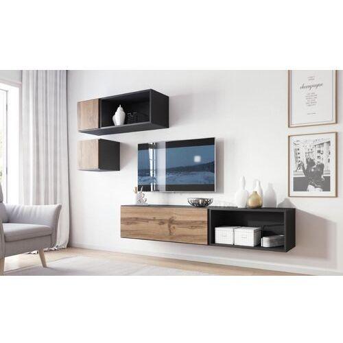 High glossy furniture Nowoczesna meblościanka rock 5 antracyt mat - wotan mat