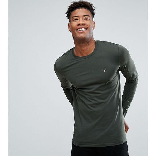 Farah Farris slim fit logo long sleeve t-shirt in green - Green