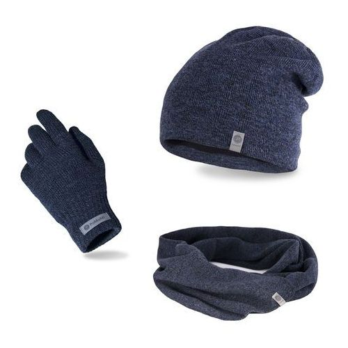 Komplet męski - czapka, szalik, rękawiczki - granatowa mulina marki Pamami
