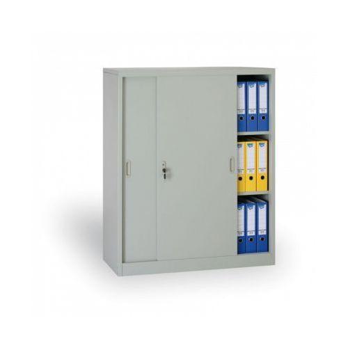 Metalowa szafa z przesuwnymi drzwiami, 1200 x 1200 x 450 mm, jasnoszary