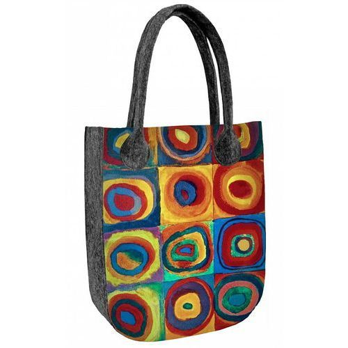 Bertoni Filcowa torebka damska shopperka kolorowe koła - szary ||wielokolorowy