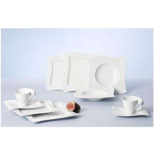 Villeroy & Boch NewWave Basic zestaw naczyń/elegancka zastawy stołowej wykonana z porcelany o łukowatym kształcie/nadaje się do 6 osób/1 X zestaw (30 sztuk), 10-2525-8775