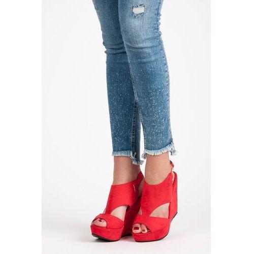 Sandałki na koturnie z zamszu - odcienie czerwieni, Laura mode