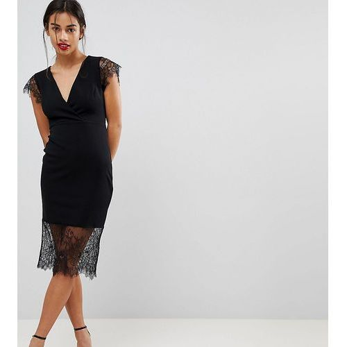 Asos petite pencil dress with v neck and lace sleeves and hem - black