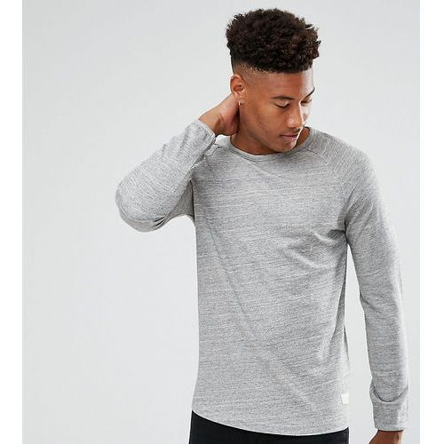 Selected Homme TALL Long Sleeve T-Shirt With Raglan Sleeve And Curved Hem - Grey